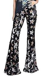 Black-1 Sequins High Waist Bell Bottom Pants Glitter Wide Leg