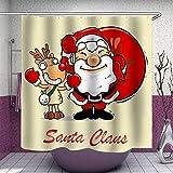 Duschvorhang aus Stoff, Weihnachtsmann & Rentier, niedliches beiges Design, Polyester, bedruckt, dekorativ, mit Haken, Set (0060)