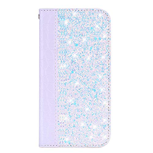 IKASEFU Compatible with iPhone 5S/SE Shiny Sparkly Bling Glitter Luxury Wallet with Card Holder Pretty Flash Pu Leather Magnetic Flip Case Protective bumper shockproof Cover Case,white