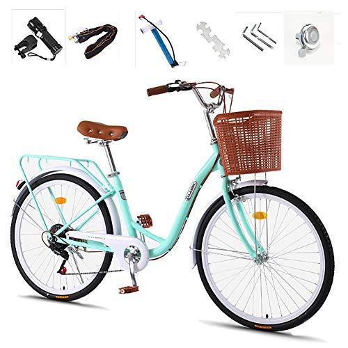 GHH Bicicletta College,26' Cambio 7 Marce con Cesto,Town, Bicicletta di Città Bicicletta da Donna Blocco antifurto, Verde Chiaro