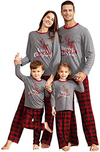 IFFEI Matching Family Pajamas Sets Christmas PJ's Sleepwear Merry Christmas Reindeer with Plaid Pants for Kids & Adult Kids: 2 Years
