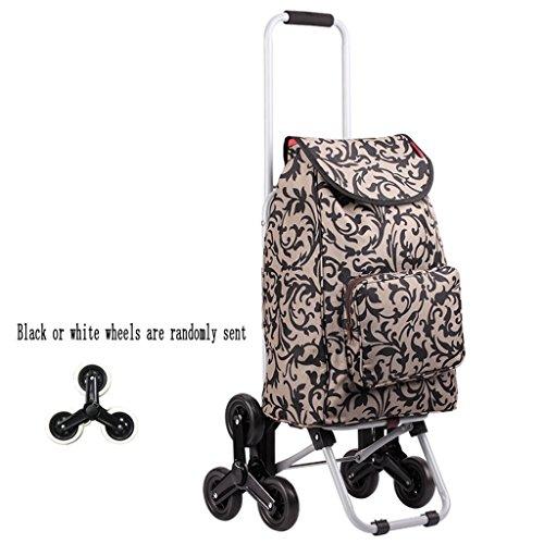 ZYDSD Einkaufstrolleys Leichtes zusammenklappbares älteres Einkaufslaufkatzen-Gepäck-Ausgangs-kletternde Treppe mit 6 Rädern tragbarem abschleppendem Wagen Mehrzweckhand-LKW (Color : B)