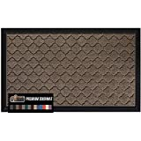 Gorilla Grip Original Durable Natural Rubber Door Mat, 29x17, Heavy Duty Doormat, Indoor Outdoor, Waterproof Easy Clean, Low-Profile Mats for Entry, Garage, Patio, High Traffic Areas, Beige Quatrefoil