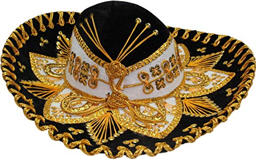 Authentic Mariachi Flowers Style Hat Fancy Premium Mexican Sombrero Charro Hats Made in Mexico (Choose Size & Color) (Youth & Women, Black/Gold)