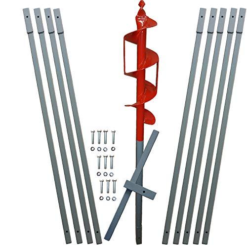 10m Erdbohrer mit 110mm Bohrkopf -VERLÄNGERBAR- auch als Brunnenbohrer, Handerdbohrer, Erdlochbohrer, Brunnenbohrgerät, Pflanzbohrer, Zaunbohrer, Pfahlbohrer UVM. einsetzbar !