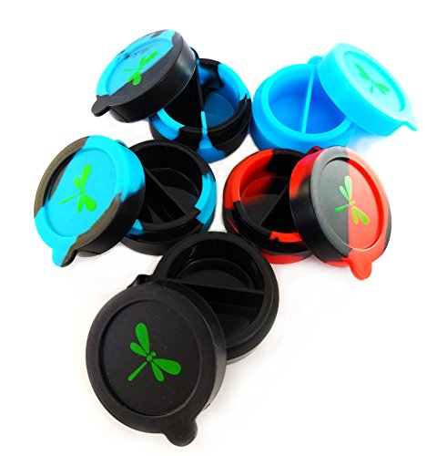Dragon Fly Essentials Pack of 5 Assorted Colors of NonStick Silicone Dab Containers and Concentrated Wax Container. Flip-Top, Dual Compartment, Store Multiple Flavors of Oil and Wax Concentrate.