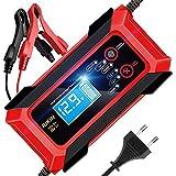 RIKIN Chargeur de Batterie Auto Rapide 8A 12V/24V Chargeur Moto Intelligent Portable avec Écran LCD Mode de Réparation Multiples...