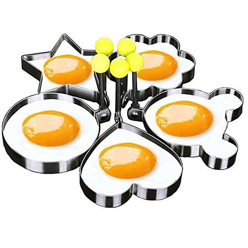 BAIHUI Fried Egg Mold Ring Set of 5  Stainless Steel NonStick Egg Shaper Ring Egg Ring Pancake Mold NonStick Kitchen Cooking Tools