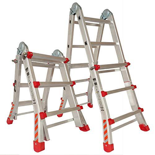 BTF Escalera Articulada Telescópica Plegable 3+2 en 2 Tramos Profesional de Aluminio. Escada Articulada Telescópica Dobrável de Alumínio (Hasta 10 Peldaños/Até 10 degraus). BTF-TS33