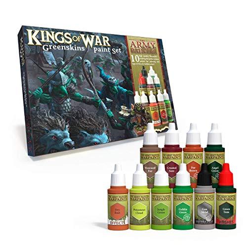The Army Painter Juego de pintura Kings of War Greenskins | 10 pinturas acrílicas para pintar de Orcs Goblins Greenskins Beasts y Warmachines | para Wargames miniatura modelo pintura