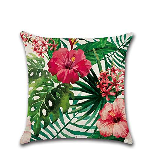 Suneast - Funda de cojín con diseño de hojas verdes tropicales, 45 x 45 cm, estilo 5, 45*45cm