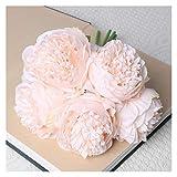 JSJJAYU Flores artificiales 5 cabezas grandes de 11 cm de diámetro rosa peonía artificial ramo de flores falsas para el hogar, novia, boda, decoración de matrimonio (color: rosa claro)