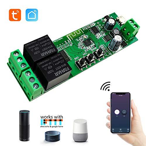 EACHEN 2 Kanal WiFi Wireless Smart Switch Relay Modul für Smart Home Fernbedienung DC 5 V/12 V, für Zugangskontrolle Einschalten von PC, Garagentor, Arbeit mit TUYA/Smart Life App