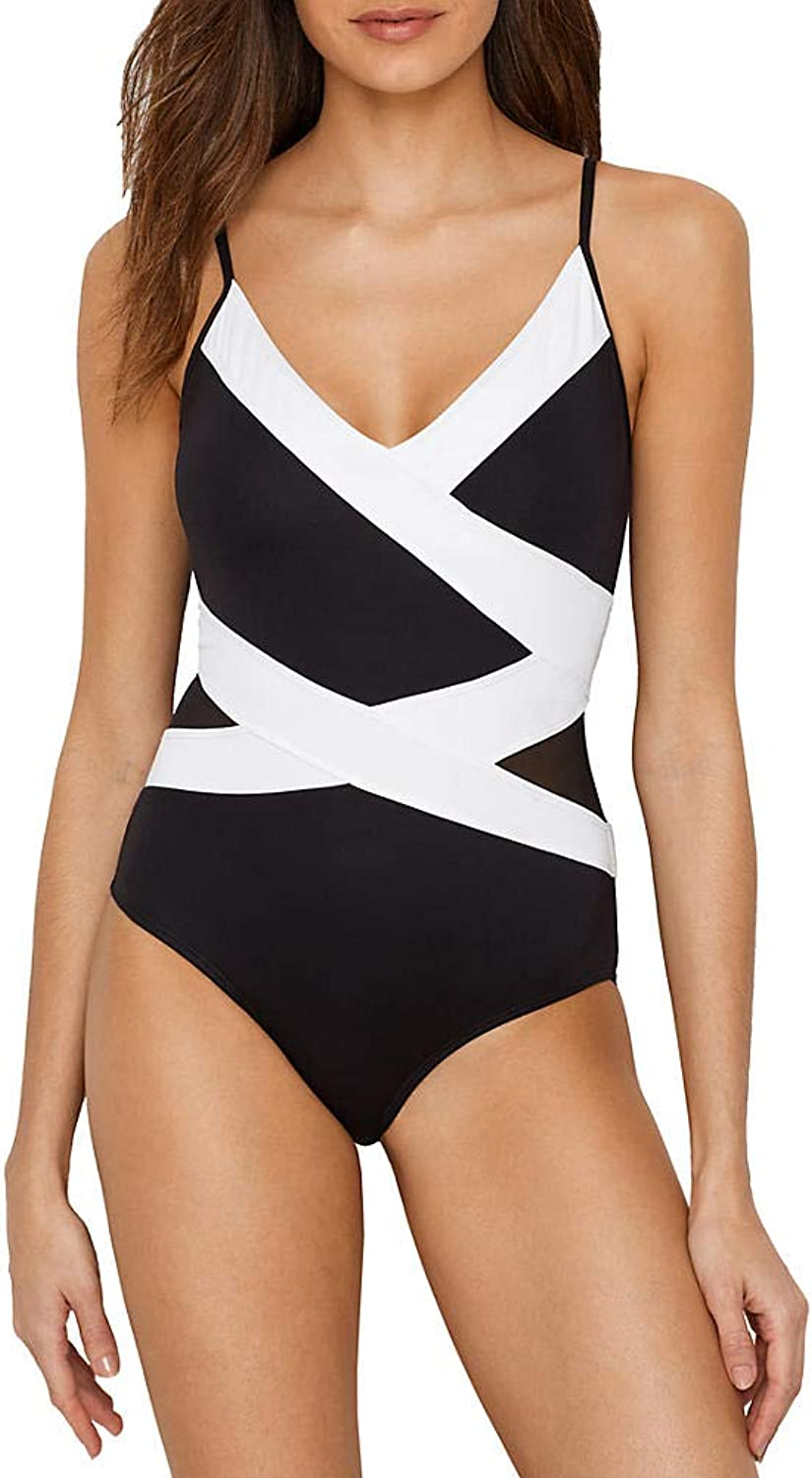 Anne Cole Womens Mesh Spliced Over The Shoulder Sexy One Piece Swimsuit One Piece Swimsuit