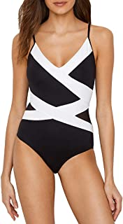 d22c73c332 Anne Cole Womens Mesh Spliced Over The Shoulder Sexy One Piece Swimsuit One Piece  Swimsuit