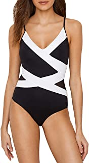 Women's Mesh Spliced Over The Shoulder Sexy One Piece Swimsuit