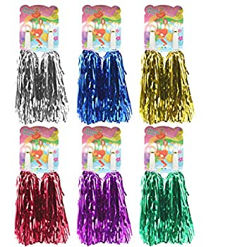 Creatiee 12Pcs Cheerleading Pom Poms Hand Flowers Cheerleader Pompoms for Sports Cheers Ball Dance Fancy Dress Night Party  Mixed Colors