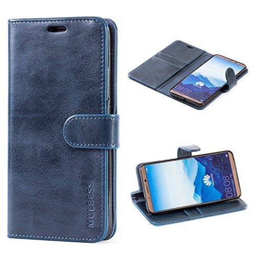 Mulbess Handyhülle für Huawei Mate 10 Pro Hülle Leder, Huawei Mate 10 Pro Handy Hüllen, Vintage Flip Handytasche Schutzhülle für Huawei Mate 10 Pro Hülle, Navy Blau