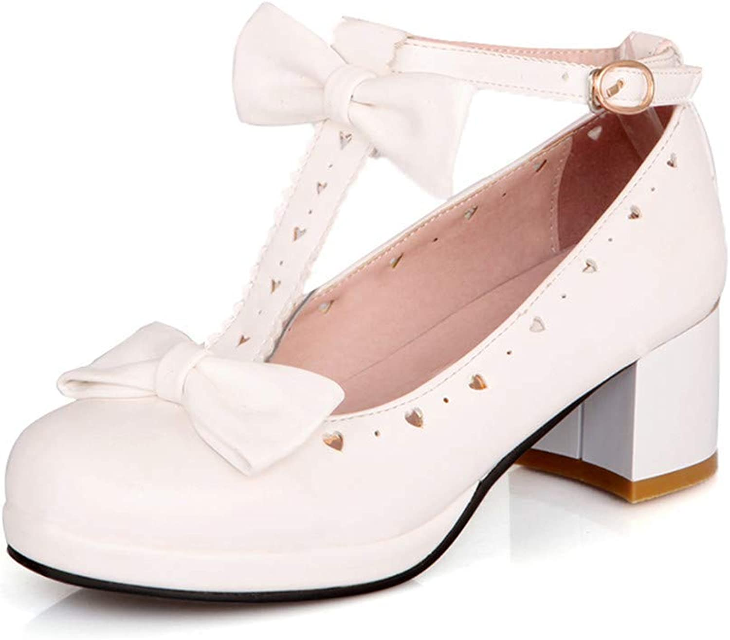 CHENSF Women's Beautiful lace Bow T-Shaped Low Heel shoes
