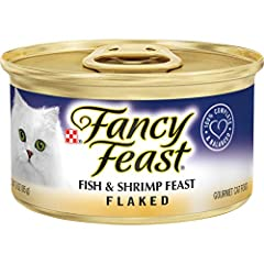 Twenty-Four (24) 3 Oz. Can - Purina Fancy Feast Flaked Fish & Shrimp Feast Wet Cat Food 100% Complete And Balanced Nutrition Delicately Flaked Recipe Provides A Tender Texture Cats Love High-Quality Seafood Offers Delicious Flavor Essential Vitamins ...