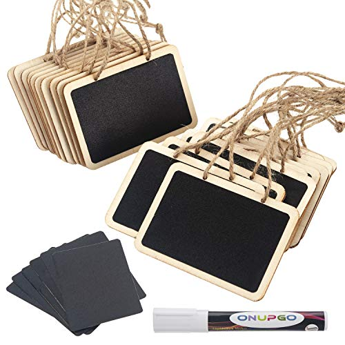 ONUPGO 20 Pack Chalkboard Tags with Liquid Chalk Marker, Mini Erasable Chalkboards with Hanging String, Wooden Mini Chalkboard Signs, Hanging Chalkboard Labels, Price Tags, Message Tags