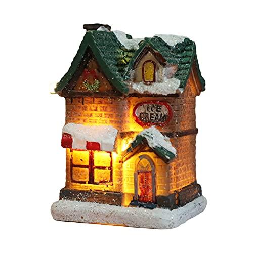 FUFRE Decorazione natalizia a forma di gallina di neve LED lampeggiante, a batteria, decorazione da scrivania per feste, vacanze, matrimoni, casa o giardino (E)