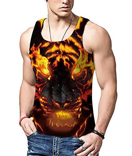 ALISISTER Tank Top Herren 3D Personalisiert Feuer Wolf Design Sport Gym Tank Top Männer Beiläufig Grafik Ärmellos Tee Shirt Weste Schwarz XL