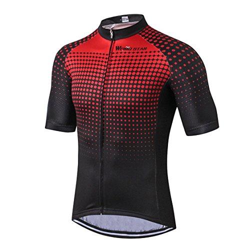 Maglia da ciclismo in jersey da uomo, per ciclismo estiva, montagna, mountain bike, abbigliamento a maniche corte, traspirante, rosso, nero, taglia XL