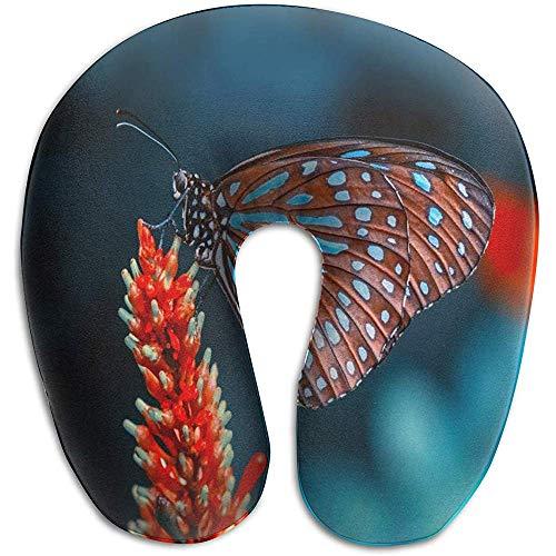 KDU Fashion kussen voor nek, vlak, vlinderbloem in de tuin, U-vormig kussen, reiskussen, geheugenschuim, wasbaar voor vliegtuigen