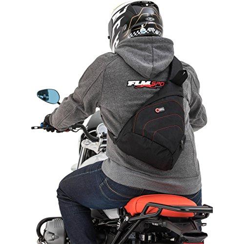 QBag Motorrad Rucksack Herren und Damen Fahrradrucksack Sling Bag Umhängerucksack, ergonomisch gepolsterter Schultergurt, fahrstabil, viele durchdachte Fächer, sehr aerodynamisch, Schwarz, 6 Liter