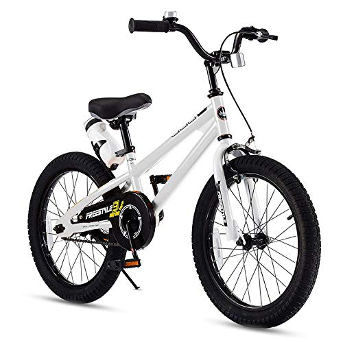 RoyalBaby Kids Bike Boys Girls Freestyle BMX Bicycle With Kickstand Gifts for Children Bikes 18 Inch White