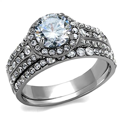 Doublebeez Jewelry Stainless Steel Cubic Zirconia Cluster Wedding Band Ring...
