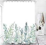 M&W DAS DESIGN Cortina de ducha con diseño de hojas verdes, flores y plantas, tela con efecto antimoho, lavable, incluye 12 anillas en C con peso inferior de 180 x 200 cm