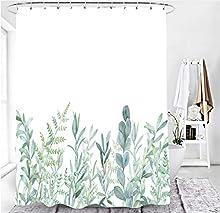 M&W DAS DESIGN Cortina de ducha con diseño de hojas verdes, flores y plantas, tela con efecto antimoho, lavable, incluye 12 anillos en C, peso inferior 180 x 200 cm (ancho x alto) cm