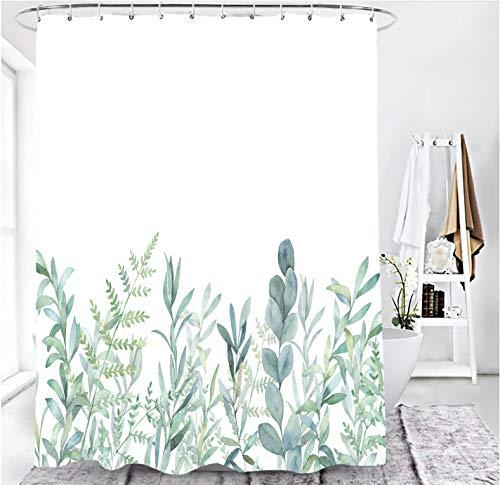 MundW DAS DESIGN Duschvorhang grüne Blätter Blumen Pflanzen Badezimmer Textil Vorhang mit Antischimmel Effekt waschbar Shower Curtain badewanne inkl. 12 C-Ringe mit Gewicht unten 180 x 200 cm