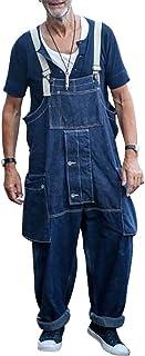 Dihope - Salopette con tasca, da uomo, casual, per attività all'aria aperta, taglia grande, stile casual, alla moda