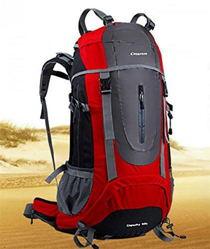 Plein air sac à dos randonnée sac de voyage bandoulière multifonctions imperméable à l'eau 65L hommes et de femmes envoyés habillage pluie , red 65 litres