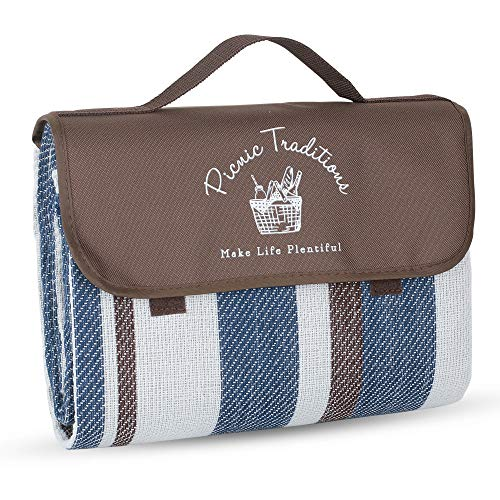 Picnic Traditions Large Picnic Blanket Water Resistant Tote - Great for Picnics, Camping on Grass, at The Beach,...
