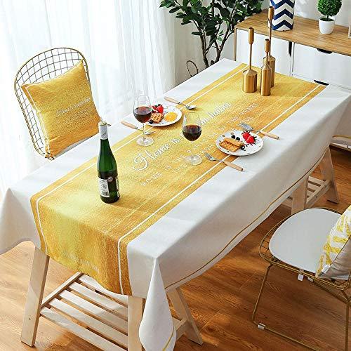 ZXCN Manteles Antimanchas Mantel Rectangular Cotton Linen Modern Light Luxury de Impermeable Vintage decoración Yellow and White 140×240cm