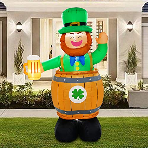 BNX 8 Ft Inflatable St. Patrick Day Elf Wearing Beer Barrel Light up for Yard and Garden