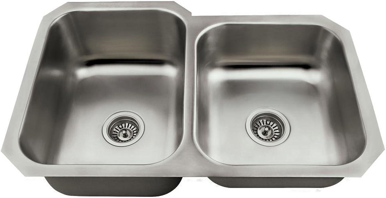 Mr Direct Us1053L Offset Kitchen Sink, Stainless Steel