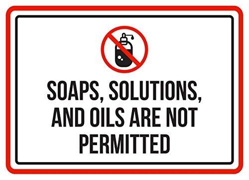 Zeep, oplossingen, Oliën zijn niet toegestaan zwembad Spa Aluminium Metalen Tekenen Vintage Business Commerciële Veiligheid Waarschuwing Metalen Tin Tekenen Nieuwigheid Outdoor