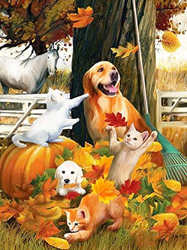 5D DIY Kit de pintura de diamantes redonda Cuadrado grandes Perros y gatos de animales de granja de otoño cristales de...