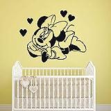 mlpnko Ratón de Dibujos Animados en Forma de corazón Vinilo de Dibujos Animados Etiqueta de la Pared Personaje niño niña Linda decoración de la habitación,CJX10723-63x48cm