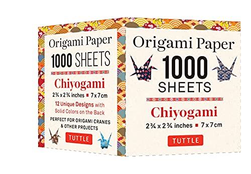 Origami Paper Chiyogami 1,000 sheets 2 3/4 in (7 cm): Tuttle Origami Paper: High-Quality Double-Sided Origami Sheets Printed with 12 Designs (Instructions for Origami Crane Included)