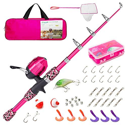 Lanaak Kids Fishing Pole - Pink Camo - Kids Fishing Pole for Girls, Boys and Youth