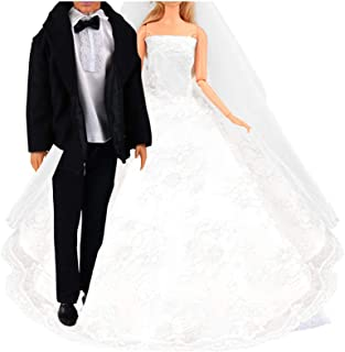 Barwa Wedding Set White Wedding Dress with Veil and Formal Suit Outfit for 11.5 - 12 Inch Girl and Boy Dolls