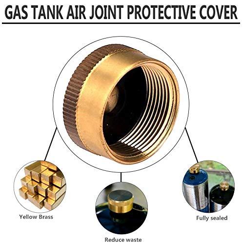 leenBonnie - Tapón de latón sólido de 1 litro para bombona de Gas - Protector de tapón Sellado para hornillo de Camping - Exterior - Cocción Universal - Amarillo