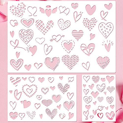 3 Stücke Valentinstag Schablone Vorlage Herz Malerei Schablone Wiederverwendbar Schablone Zeichnung Vorlage Set für Valentinstag DIY Kunst Notizbuch Hochzeit Karte Sammelalbum