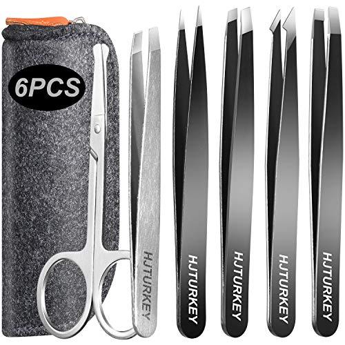 Tweezers Set 6-Piece with Scissors- Professional Stainless Steel Eyebrow Tweezers Kit for Women/Men, Best Precision Tweezer for Eyebrows, Splinter & Ingrown Hair Removal with Travel Case (Black)